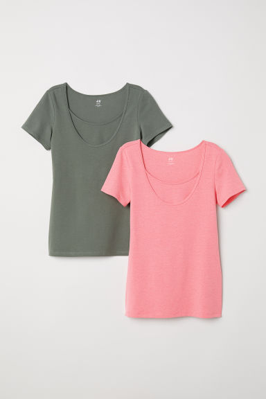 MAMA 2-pack nursing tops - Pink/Khaki green - Ladies | H&M