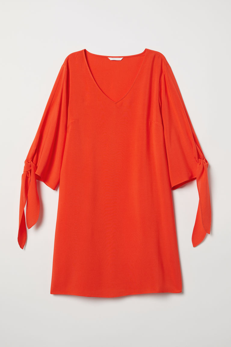 Tie-sleeved dress - Orange - Ladies | H&M CN