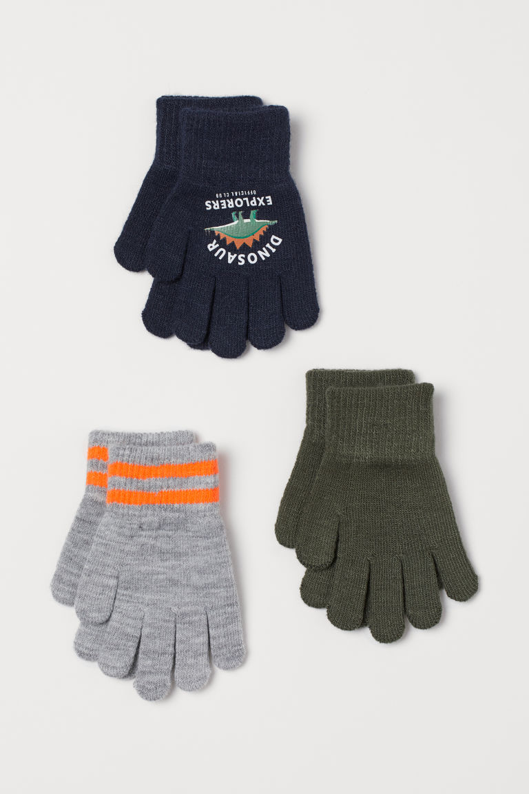 3-pack gloves - Dark blue/Dinosaur - Kids | H&M IN