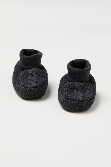 Knitted bootees - Dark grey - Kids | H&M