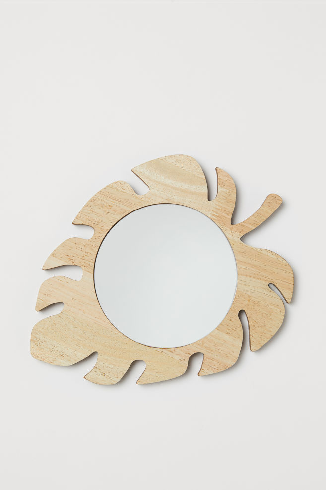 Round wooden-framed mirror - Wood/Leaf - Home All | H&M CN