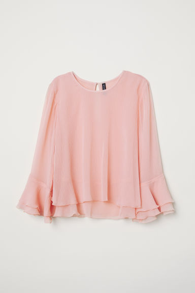 Flounced chiffon blouse - Light pink - Ladies | H&M