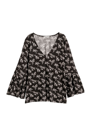 Patterned top - Black/Floral - Ladies | H&M CN