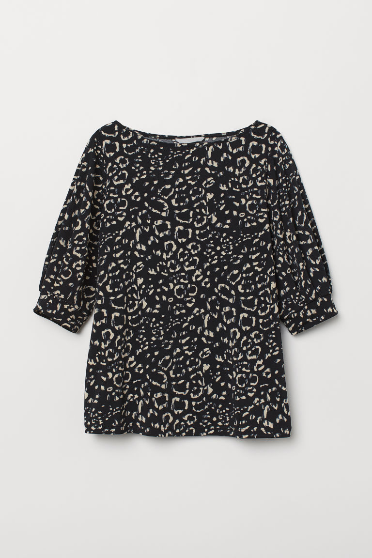 Jersey crêpe top - Black/Leopard print - Ladies | H&M