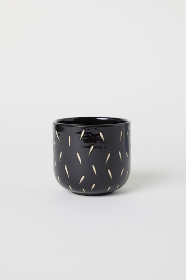 Small stoneware plant pot - Black/Patterned - Home All | H&M CN