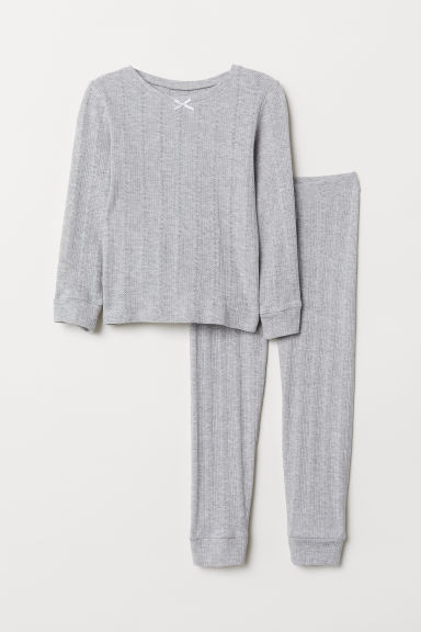 Jersey pyjamas - Light grey marl - Kids | H&M