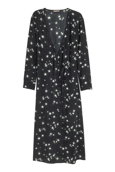 H&M+ Patterned wrap dress - Black/Stars - Ladies | H&M