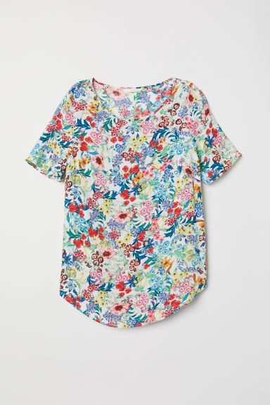 Crêped Top - White/floral - Ladies | H&M US
