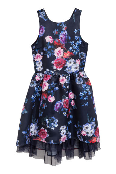 Patterned satin dress - Dark blue/Floral -  | H&M CN
