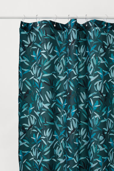 Shower curtain - Dark green/Leaf-patterned - Home All | H&M CN