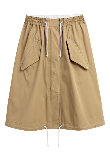 Flared cotton skirt - Khaki beige - Ladies | H&M