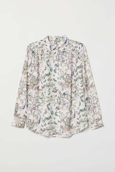 H&M+ Long-sleeved blouse - Cream/Floral - Ladies | H&M CN