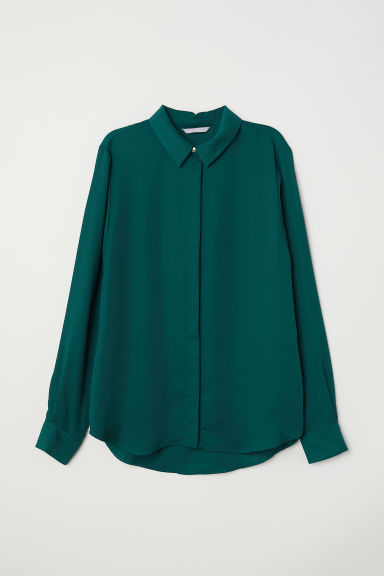 Long-sleeved blouse - Dark green -  | H&M CN