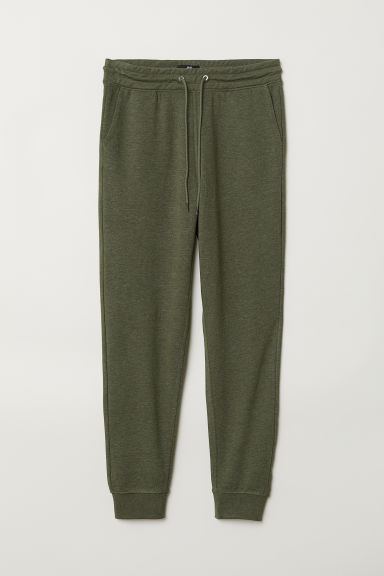 Sweatpants Slim Fit - Dark khaki green marl - Men | H&M CN