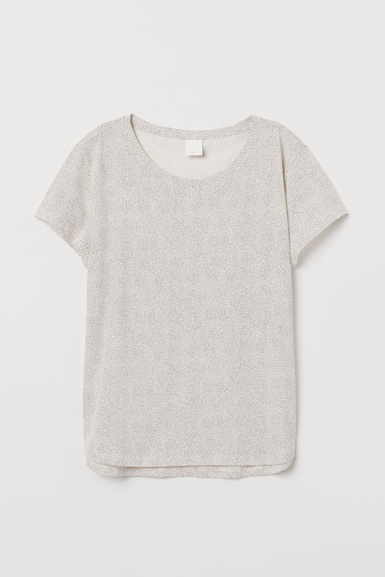 Cotton T-shirt - Natural white/Spotted - Ladies | H&M