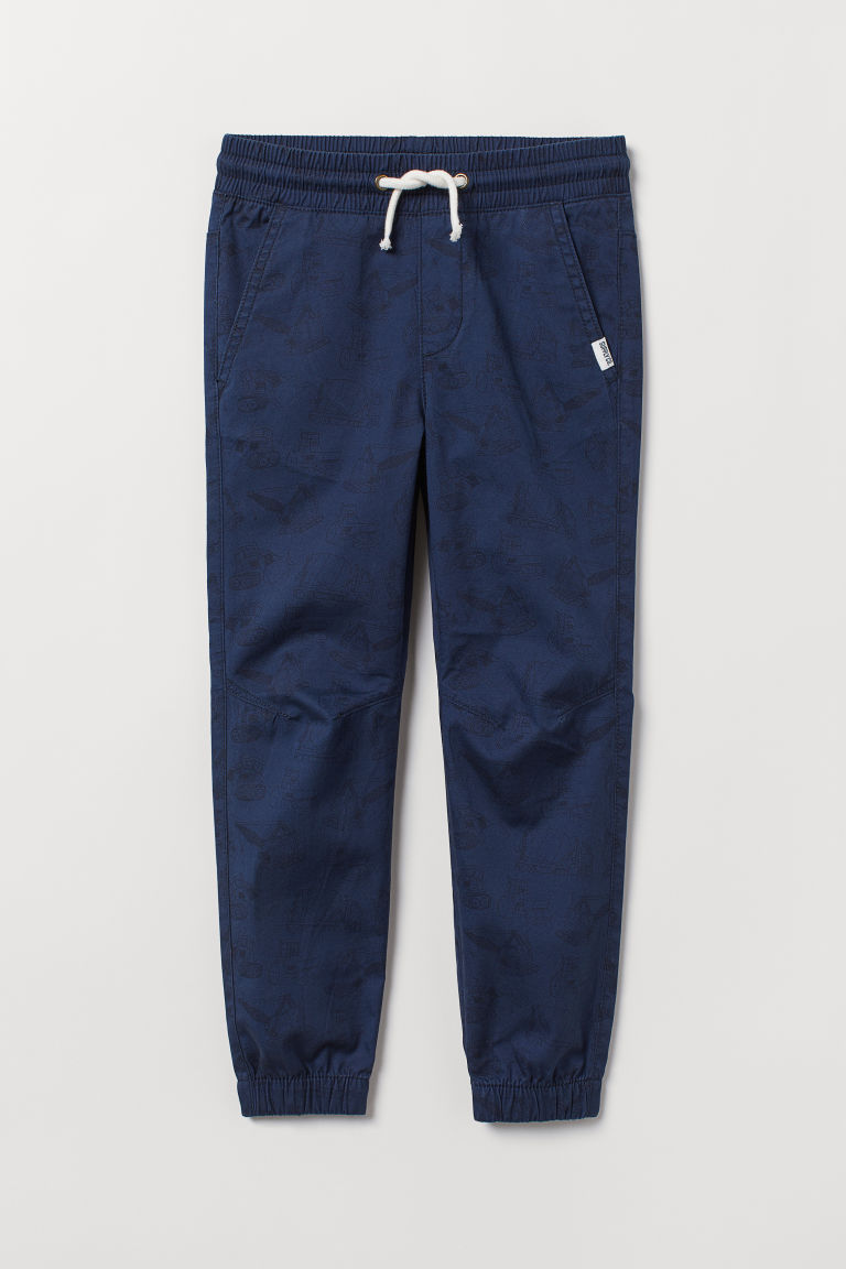Cotton pull-on trousers - Dark blue/Vehicles -  | H&M