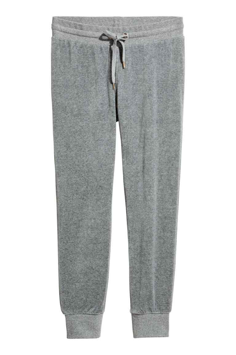 Velour joggers - Grey - Ladies | H&M