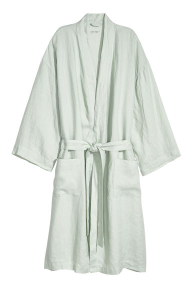 Washed linen dressing gown - Light green - Home All | H&M GB