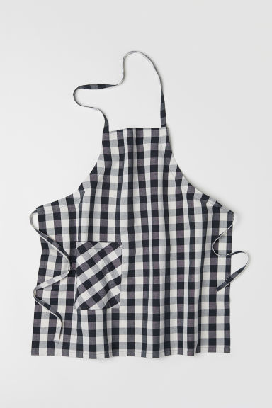 Linen-blend apron - Anthracite grey/Checked - Home All | H&M CN