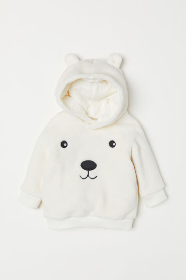Pile hooded top - Natural white/Bear - Kids | H&M