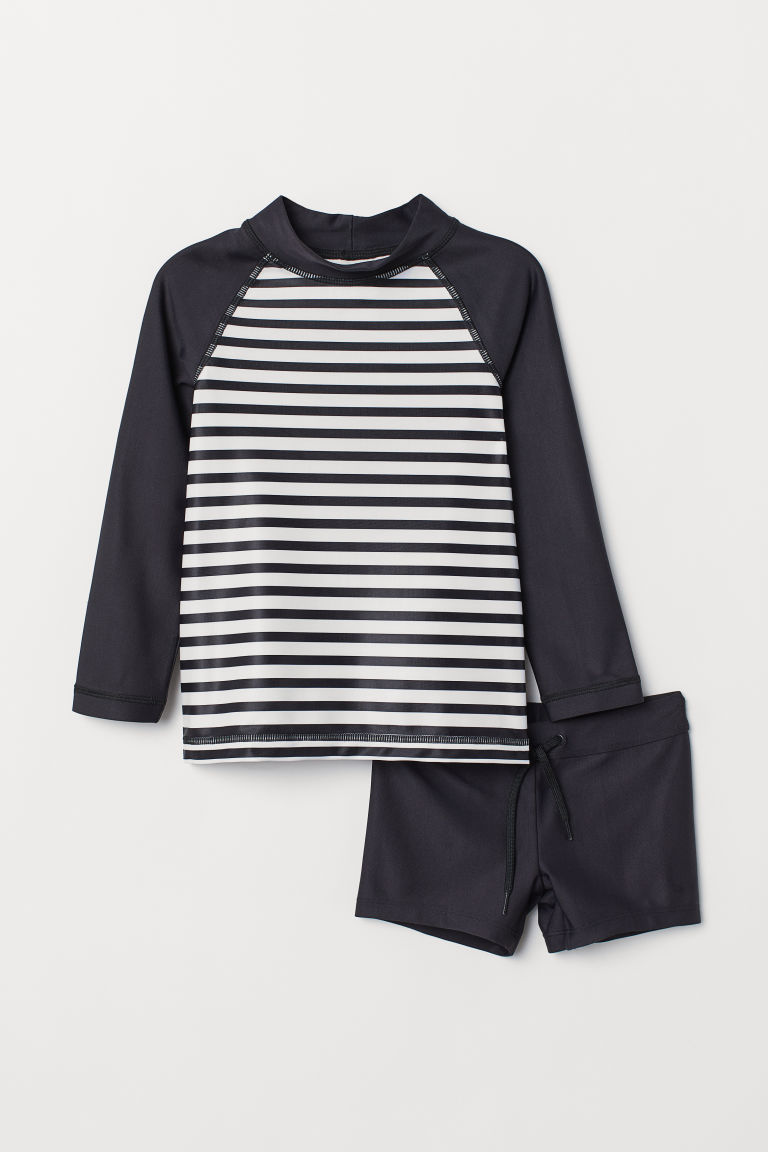 Swim Set UPF 50 - Black/white - Kids | H&M US