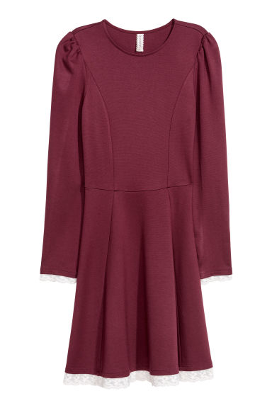 Jersey dress with a lace trim - Burgundy - Ladies | H&M GB