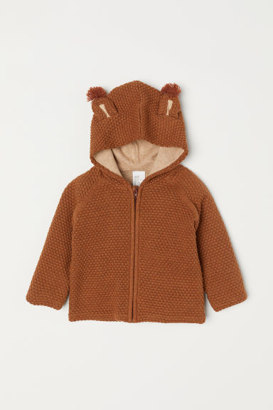 Textured-knit cardigan - Brown/Squirrel -  | H&M CN