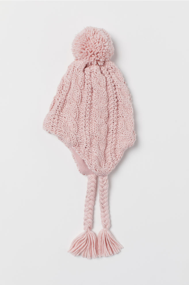 e848cb38f49143 Cable-knit hat - Powder pink - Kids | H&M 1