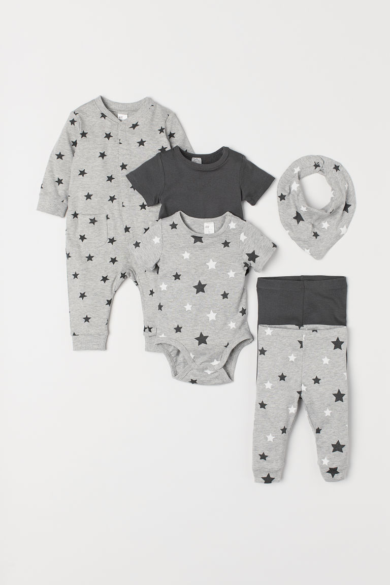 6-piece Jersey Set - Gray melange/stars - Kids | H&M US