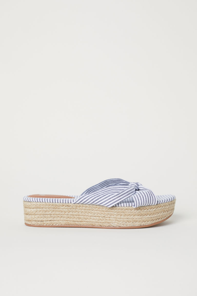 Platform sandals - White/Striped - Ladies | H&M