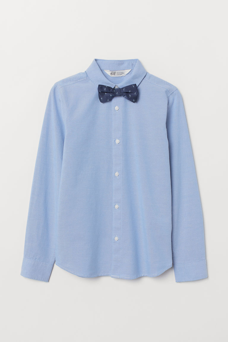 Shirt with a tie/bow tie - Light blue/Bow tie - Kids | H&M IE