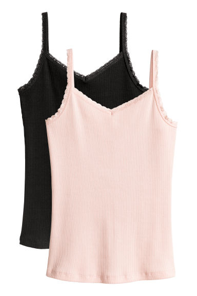 2-pack, lace-trimmed vest tops - Powder pink/Black -  | H&M