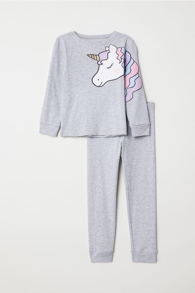 2b0398abdc Jersey Pajamas - Light gray melange unicorn - Kids
