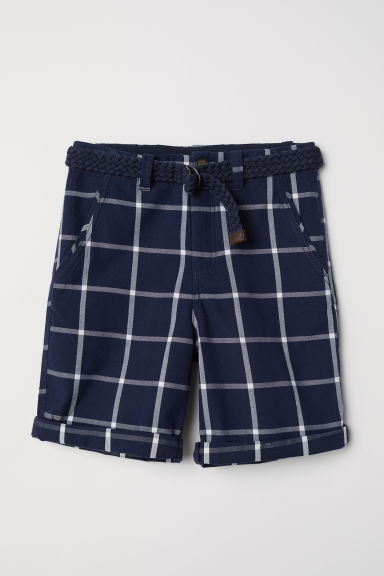 Shorts with a belt - Dark blue/White checked - Kids | H&M