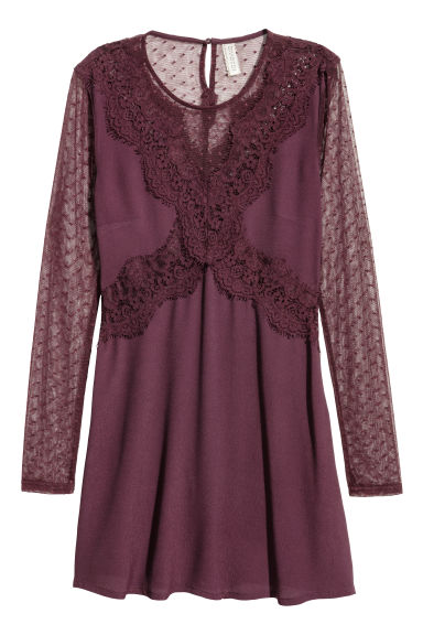 Lace dress - Plum -  | H&M CN