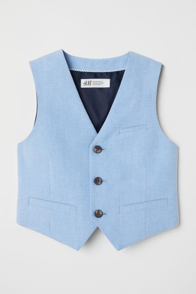 Cotton suit waistcoat - Light blue -  | H&M