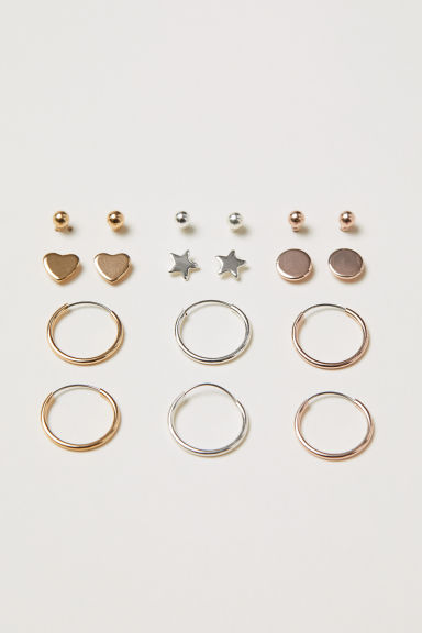 9 pairs earrings - Silver-coloured/Gold-coloured - Ladies | H&M CN