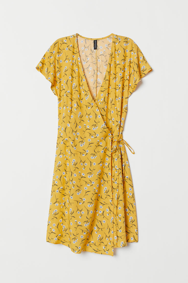 Patterned wrap dress - Yellow/Floral -  | H&M