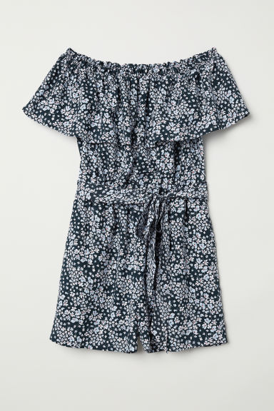 Off-the-shoulder playsuit - Dark blue/Floral - Ladies | H&M