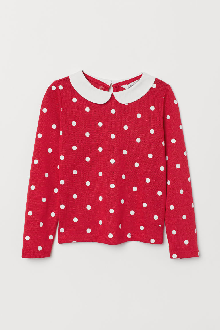 Jumper with a collar - Red/Spotted - Kids | H&M CN