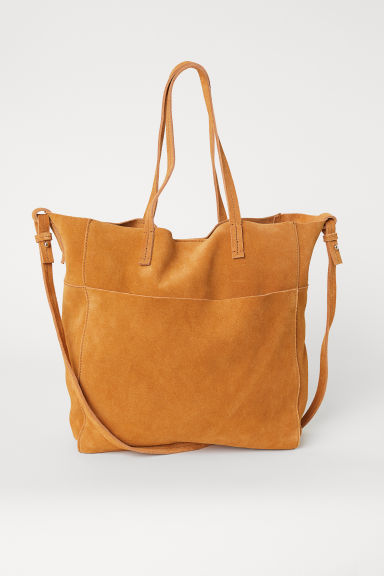 Shopper aus Veloursleder - Camel - Ladies | H&M AT