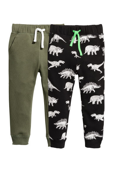 2-pack joggers - Black/Dinosaurs -  | H&M