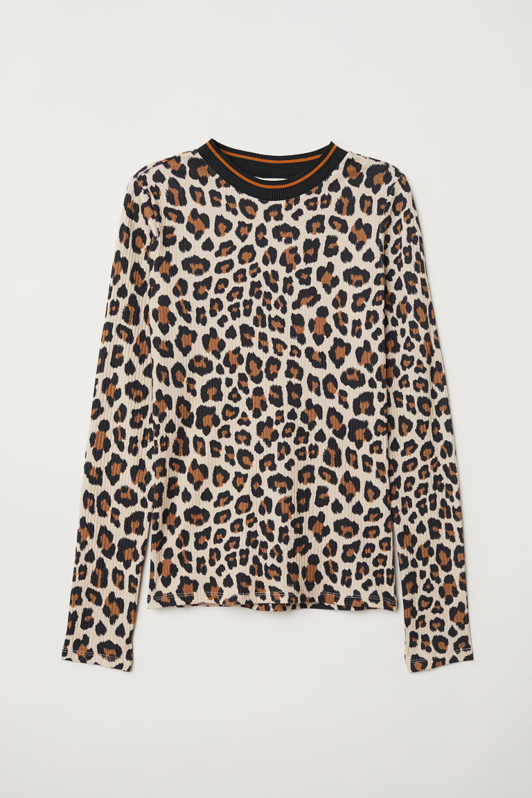 Ribbed cotton top - Beige/Leopard print - Ladies | H&M GB