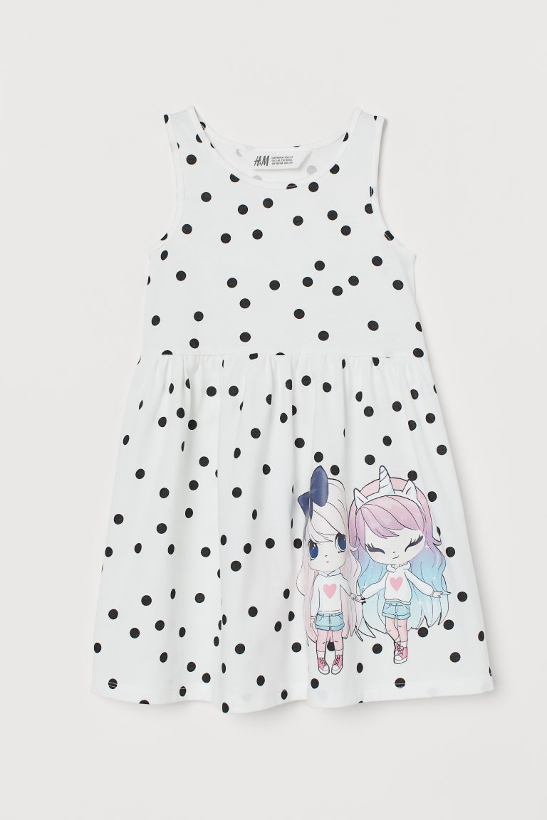 Patterned Jersey Dress - White/black dotted - Kids | H&M US