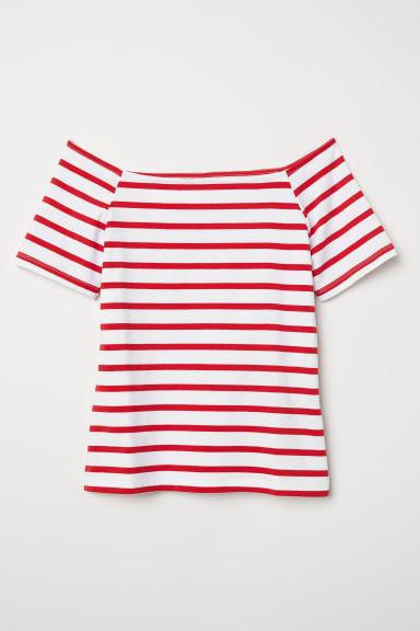 Off-the-shoulder top - White/Red striped - Ladies | H&M CN