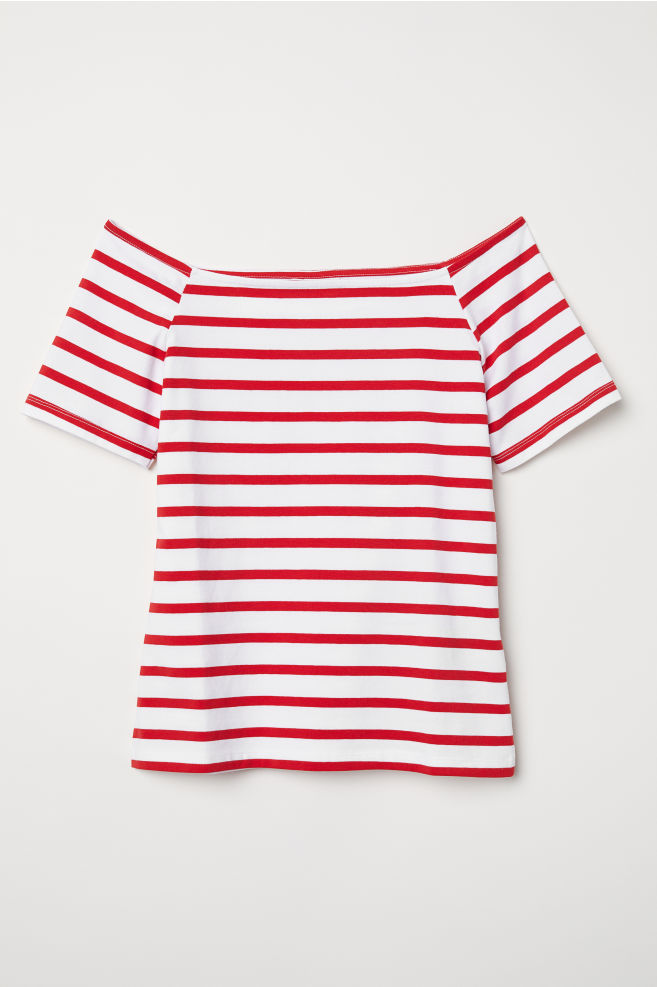 78502e5c421 Off-the-shoulder Top - White/red striped - Ladies | H&M US