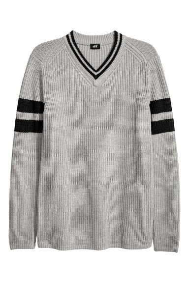 V-neck jumper - Light grey/Black - Men | H&M GB