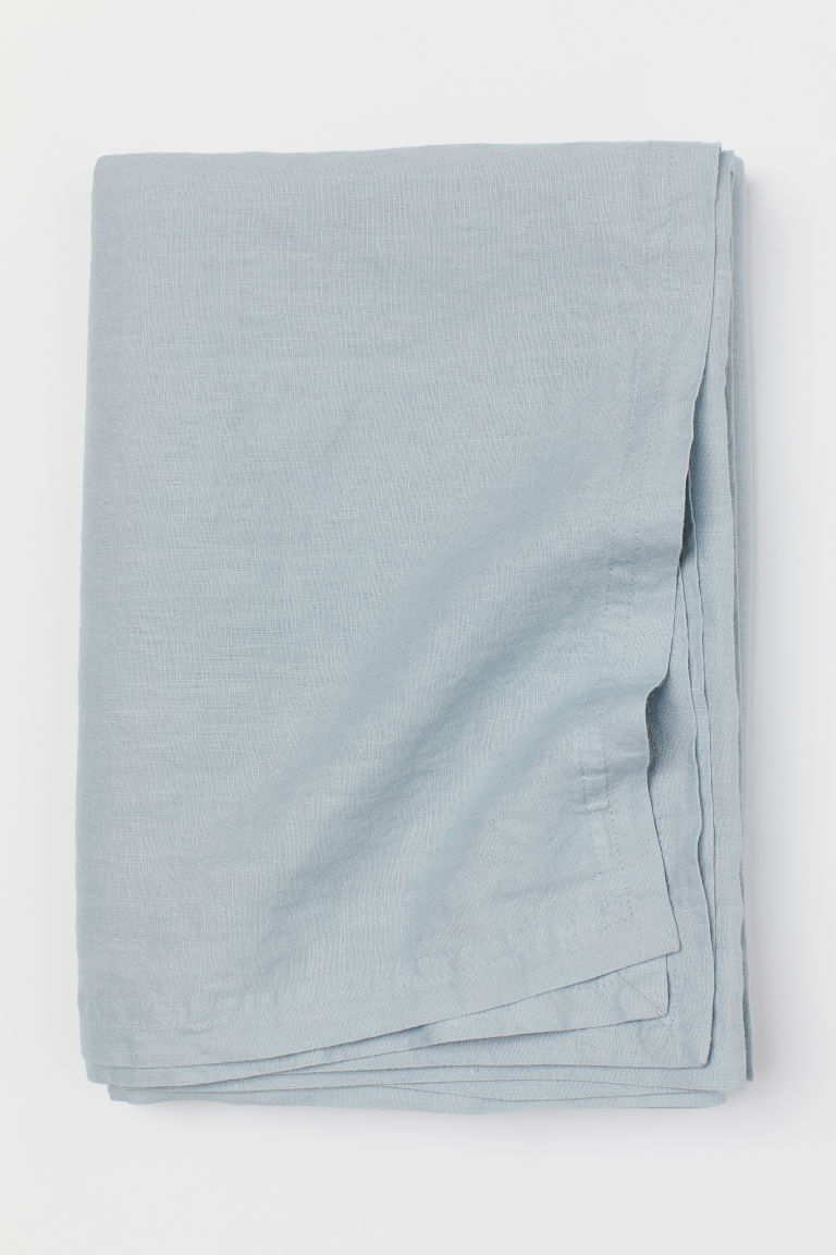Washed linen tablecloth - Light turquoise - Home All | H&M CN