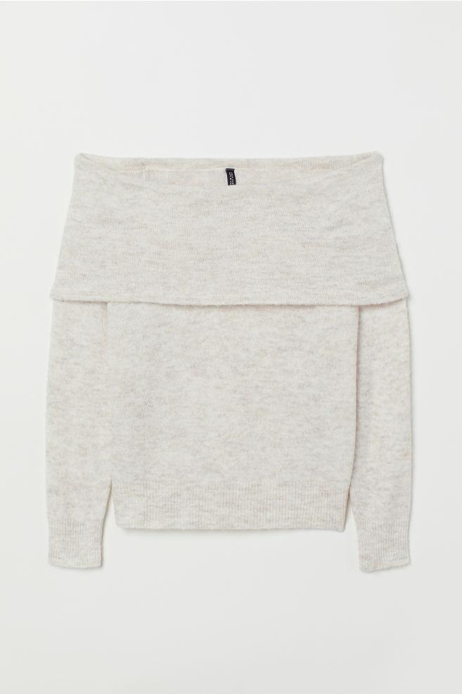 117b09af4ab35 ... Off-the-shoulder Sweater - Light beige melange -