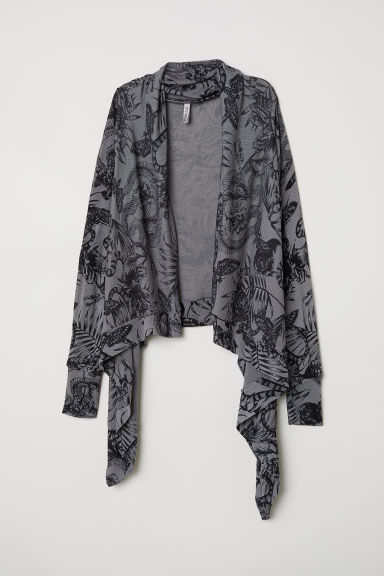 Shawl-collar cardigan - Dark grey/Botanical - Ladies | H&M